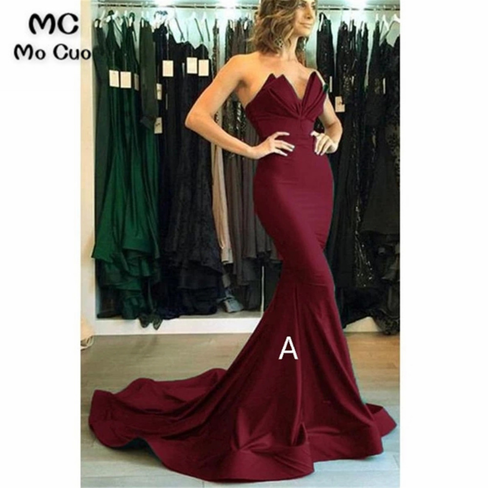 Strapless Burgundy Mermaid   Evening     Dresses   Prom Gown Vestido de festa Elastic Satin Sweep Train Formal   Evening   Party   Dress