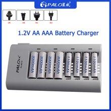 PALO 8 슬롯 충전기 1.2V AA AAA 니켈 수소 Ni Cd 배터리 지능형 충전식 배터리 충전기 스마트 트리클 충전 LED