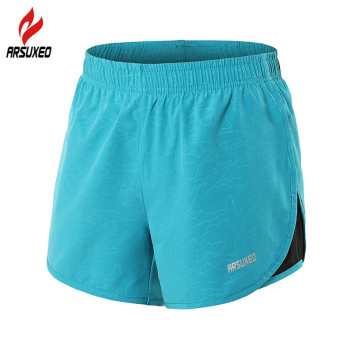 ARSUXEO Summer Running Shorts women 2 in 1 Breathable Jogging Marathon GYM Fitness Sport Shorts with Liner and Zipper Pocket 1