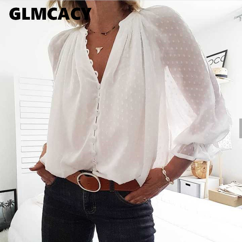 Women Long Sleeve Mesh Dot Shirts Button Transparent Blouses And Tops Sexy Club Long Sleeve Shirt Chic Streetwear