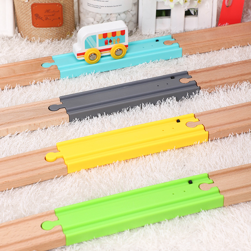 New 4 Color Long Straight Touch Mechanism Button Electric Sound Train Track Compatible With Wooden Train Track Thom As Biro Slot