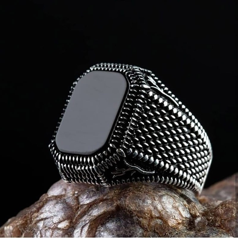 Fashion Men Male Ring Black Square Signet Ring Charm Rock Hip Hop Male Jewelry Party Gift Accessories