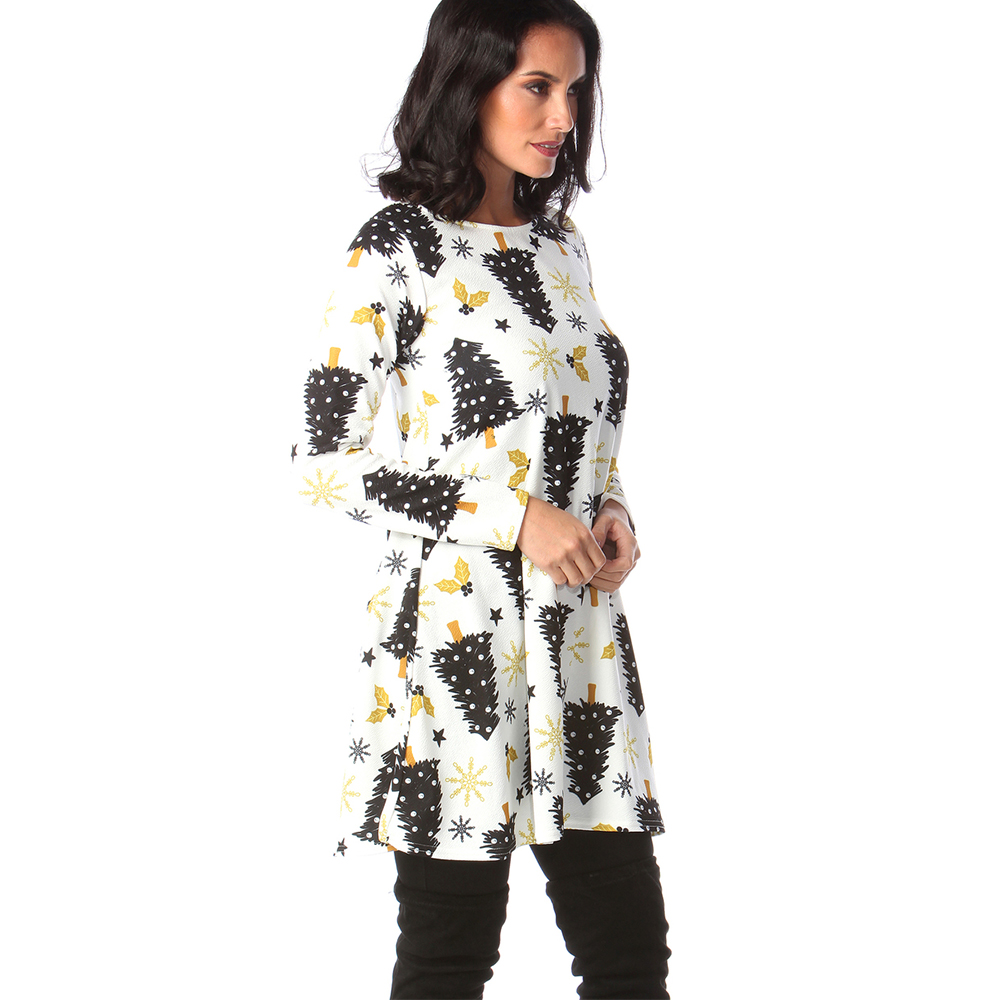 Print Long Sleeve Autumn Winter Christmas Dress Women 19 Casual Loose Short Party Dress Plus Size S-5XL Vestidos 35