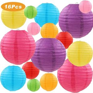 Image 1 - 2pcs 4/6/8/10/12/14/16 Inch Round Wedding Birthday Party Paper Lanterns Decor Gift Craft DIY Lampion Hanging Ball