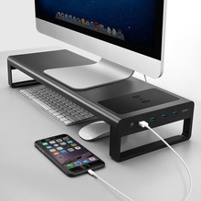 Newly Smart Base Aluminum Alloy Computer Laptop Base Stand with USB 3.0 Port Charger Stand for PC Desktop Laptop (free gift)