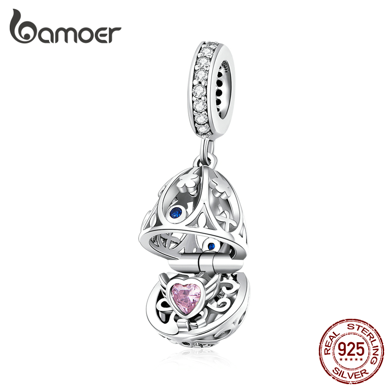 Bamoer Easter Series 925 Sterling Silver Opened Box Egg Pendant Charm For Women Original Charm Bracelet Necklace Bijoux SCC1465