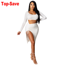 Clothing Mini-Skirts Drawstring Twist-Side Outfits Crop-Top Matching-Sets Split Two-Piece