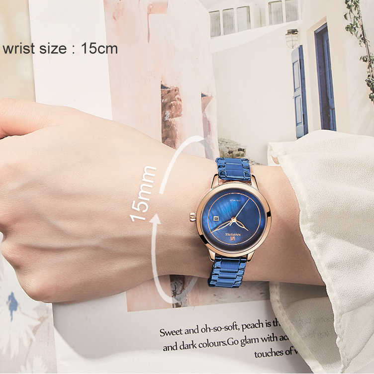 NAVIFORCEนาฬิกาผู้หญิงสแตนเลสเลดี้นาฬิกาข้อมือแฟชั่นกันน้ำสุภาพสตรีนาฬิกาผู้หญิงสีฟ้านาฬิกาRelogio Feminino