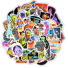 Outer Space Stickers Toys for Children Alien UFO Astronaut Rocket Ship Planet Sticker to Scrapbooking Skateboard Laptop 50 PCS