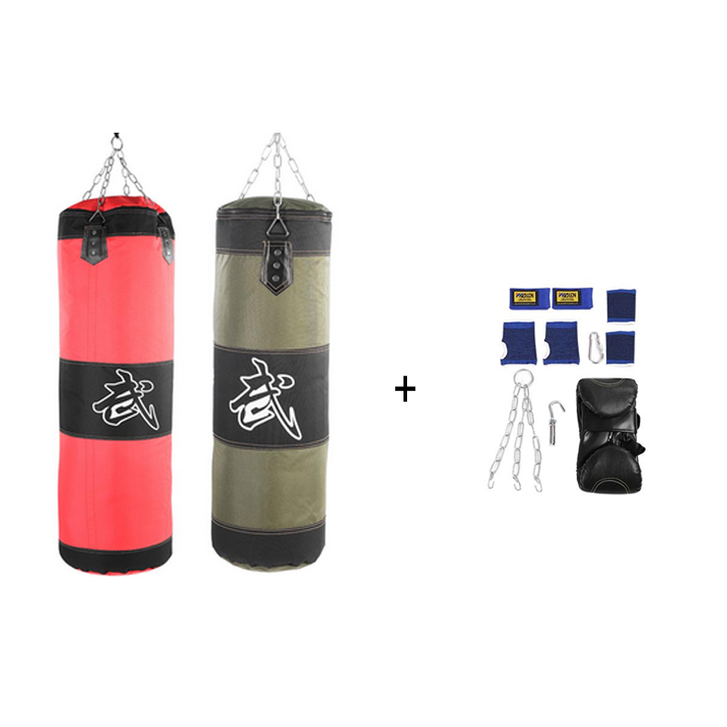 60cm 80cm 100cm 120cm Empty Boxing Sand Bag Hanging Kick Sandbag Boxing Training Fight Karate Sandbag Setwith Gloves Wrist Guard