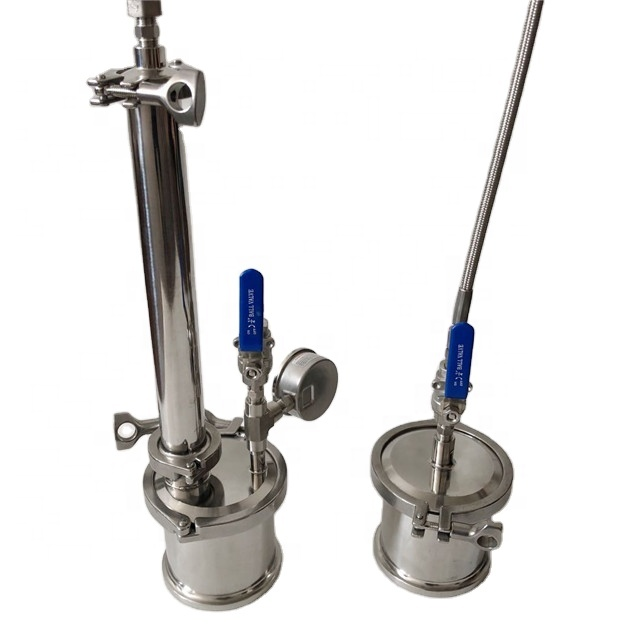 90gram stainless steel top filled closed loop bho extractor w/braid hose gauge and shower head