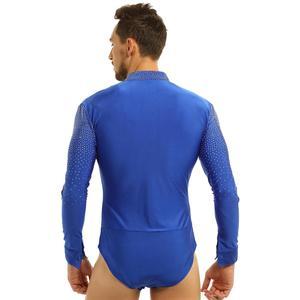 Image 2 - Men Glitter V neck Latin Dance Gymnastics Leotard Bodysuit Shirt Top Man Ballroom Tango Rumba Dancewear Halloween Costume Outfit