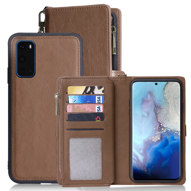 For Samsung Galaxy S20 Plus A71 A51 PU Leather Wallet Case Simple Style Detachable Magnetic Flip Case Phone Protective Cover