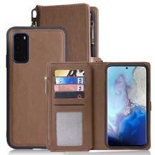 Para Samsung Galaxy S20 Plus A71 A51 PU Funda de cuero estilo Simple desmontable magnético Flip Case teléfono cubierta protectora