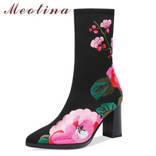 Meotina Autumn Mid Calf Boots Women Boots Flower Chunky High Heel Sock Boots Knitting Pointed Toe Shoes Female Black Size 34-41 universe 2017 new women winter boots fashion pointed toe high heel boots mid calf shoes for female g254