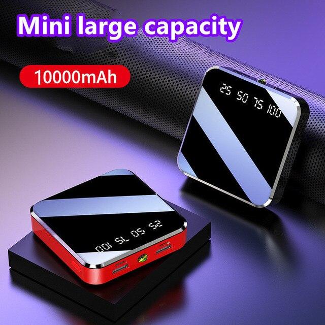 10000mAh מיני נייד כוח בנק תשלום מהיר מראה מסך תצוגת LED Powerbank פנס תאורה עבור חכם טלפון נייד
