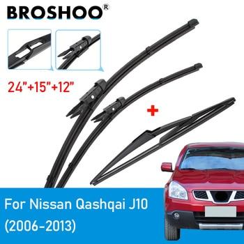 цена на BROSHOO Wiper Front & Rear Wiper Blades Set For Nissan Qashqai J10 2006 2007 2008 2009 2010 2011 2012 2013 Windshield Windscreen