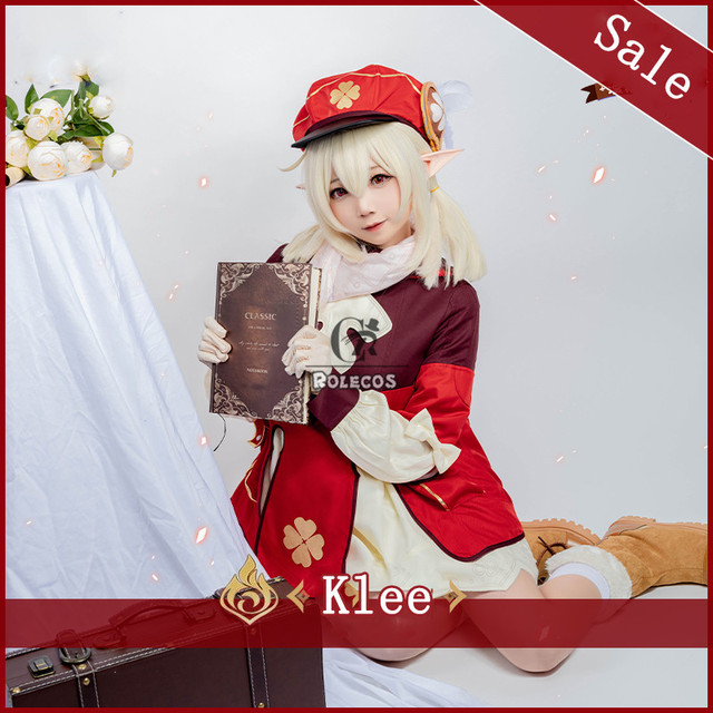 ROLECOS Genshin Impact Cosplay Costume Klee Cosplay Costume Women Red Costume Cute Girl Halloween Dress Pants Glove Hat Full Set 3