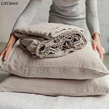 Gxclinen roupa de cama lençol lençol de linho natural elástico lençol de linho puro capa de edredão fronhas