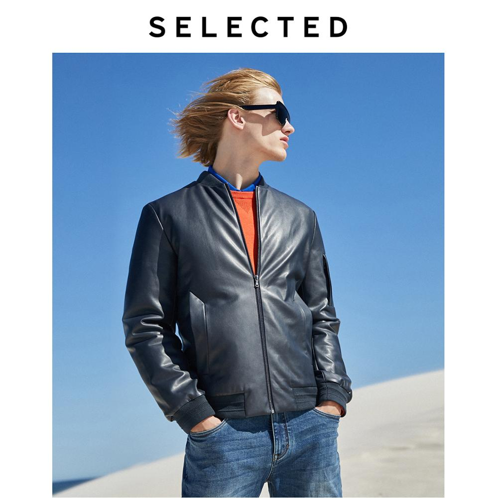 SELECTED Men's PU Leather Jacket Winter Baseball Collar Motorcycle Outwear Coat L | 4194P3511