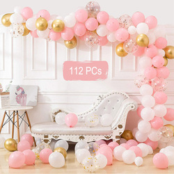 112Pcs DIY Balloon Garland Kit Arch Set Pink Balloons For Baby Shower Bridal Shower Wedding Birthday Party Background Decoration