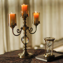 Luxury glass candle holder Vintage table centerpieces candlestick  home decoration accessories party centerpiece candle holders crystal candle holders european upscale candlestick table romantic candle sticks wedding centerpieces for home decoration
