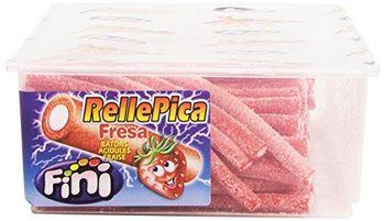 Fini Regaliz Relleno Cubierto de Pica Sabor Fresa - Paquete de 6 x 1500 gr - Total: 9000 gr