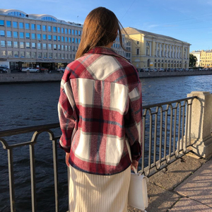 Image 3 - ฤดูหนาวของผู้หญิงเสื้อลายสก๊อตขนาดใหญ่กระเป๋าเสื้อOutwearเสื้อผ้าสำหรับสตรีRopa Mujerผู้หญิงเสื้อและเสื้อ
