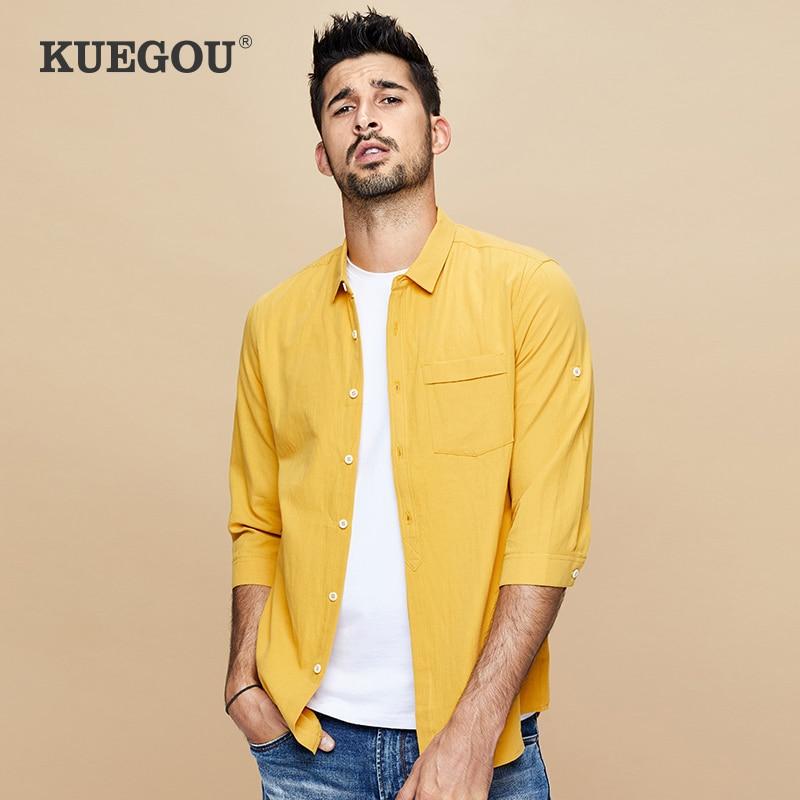 KUEGOU 100% cotton Men's shirt three-quarter sleeve fashion simple comfortable shirts summer cotton shirt yellow white BC-8199