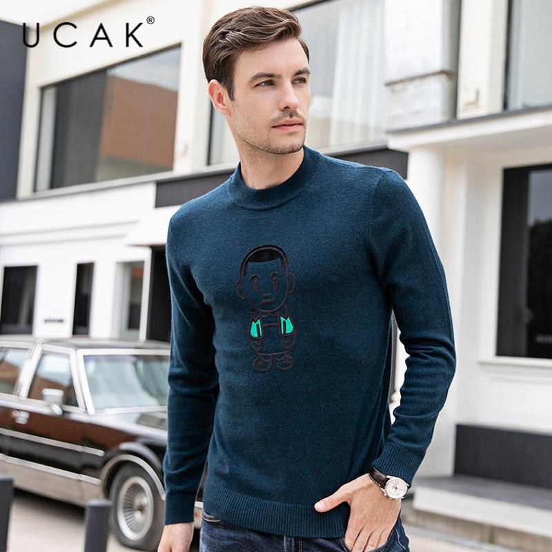 UCAK Brand 2019 Fashion Trend Winter Warm Sweaters Men Pull Homme Pure Merino Wool Cashmere Casual Pullover Sweater Male U3091