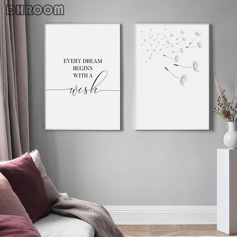 Dandelion Wall Art Canvas Painting Make Wish Dandelion Poster Prints Nordic Style Minimalist Living Room Bedroom Nursery Decor Love Me Some Gadgets