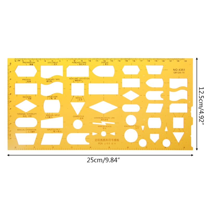 K Resin Flow Chart Symbol Drafting Template Ruler Stencil Measuring Tool Student