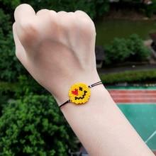 FAIRYWOO Smile Bracelet Lady Cute Miyuki Bracelets Yellow Face bileklik Gold Handmade Rope Wholesale Boho Jewelry