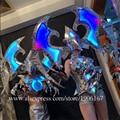 Clube noturno bar rgb led palco luminoso adereços tv mostrar salão de baile traje dança equipe led piscando luz acima vestido de festa roupas
