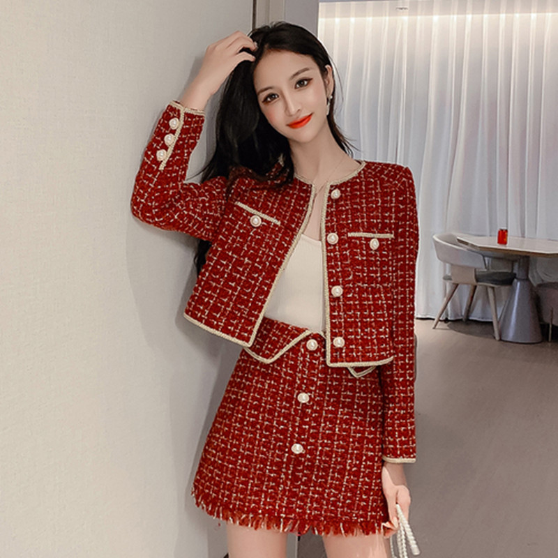 Women Autumn Tweed Set 2 Piece Set Women Skirt Top 2019 Elegant Office Lady Full Sleeve Jacket And A-line Skirt Suit Female