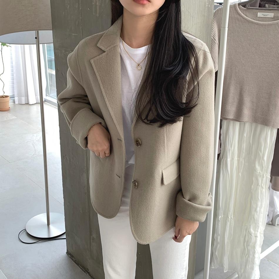 H380a591b98d2482a9dad18a57950587dF - Winter Korean Revers Collar Solid Woolen Short Coat