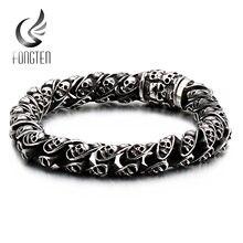 Fongten винтажный мужской браслет с черепом звеньевая цепь браслеты