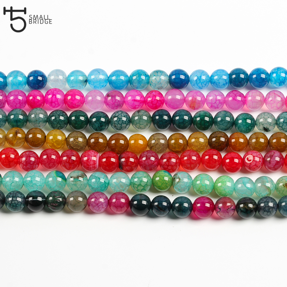 6 8 10mm Natural cracked Stone Beads For Jewelry Making Diy Bracelets for women precious stone Beads Wholesale S504 in Beads from Jewelry Accessories