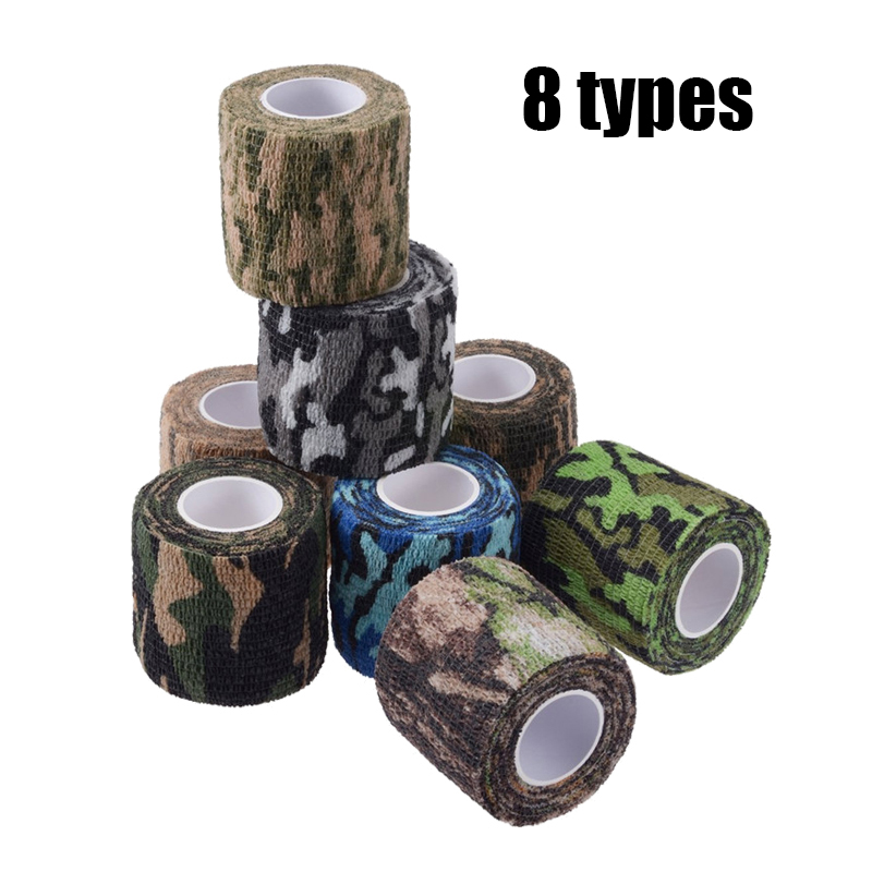 8 Style Self-adhesive Camo Tape Stretch Bandage Tactical Non-woven Protective Camouflage Wrap For Rifle Gun Flashlight Hunting
