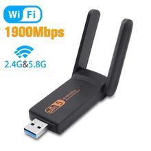USB3.0 wifi adaptörü 1900Mbps çift bant 2.4Ghz + 5.8Ghz Wi fi Dongle bilgisayar 802.11AC ağ kartı USB 2 antenler hi Speed