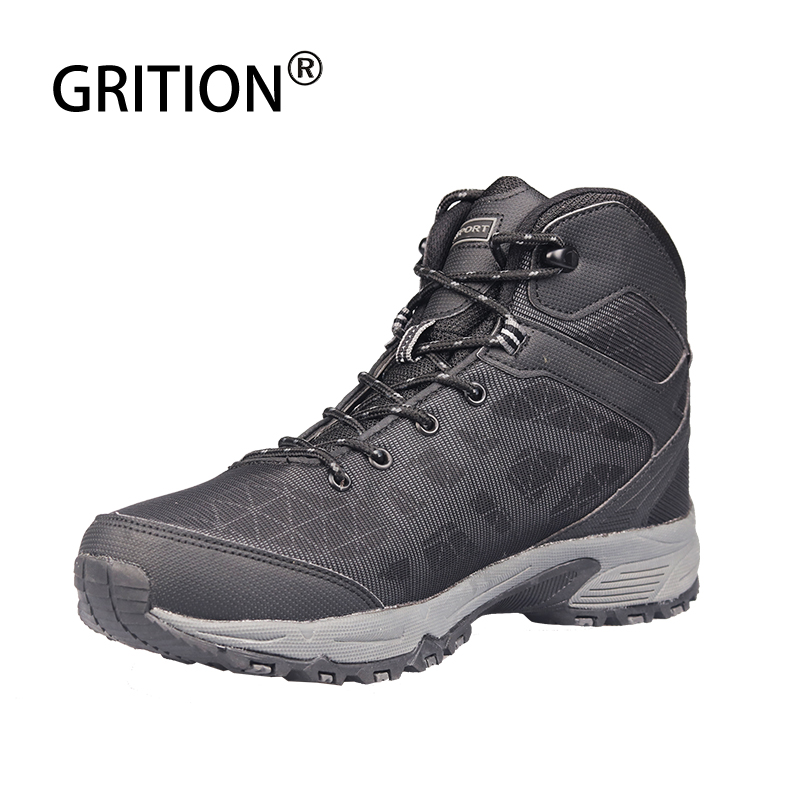 GRITION Men Hiking Shoes Waterproof Reflective Face Hunting Boots Outdoor Non-slip Safety Climbing Tourism Tactical Boots 40-46 title=