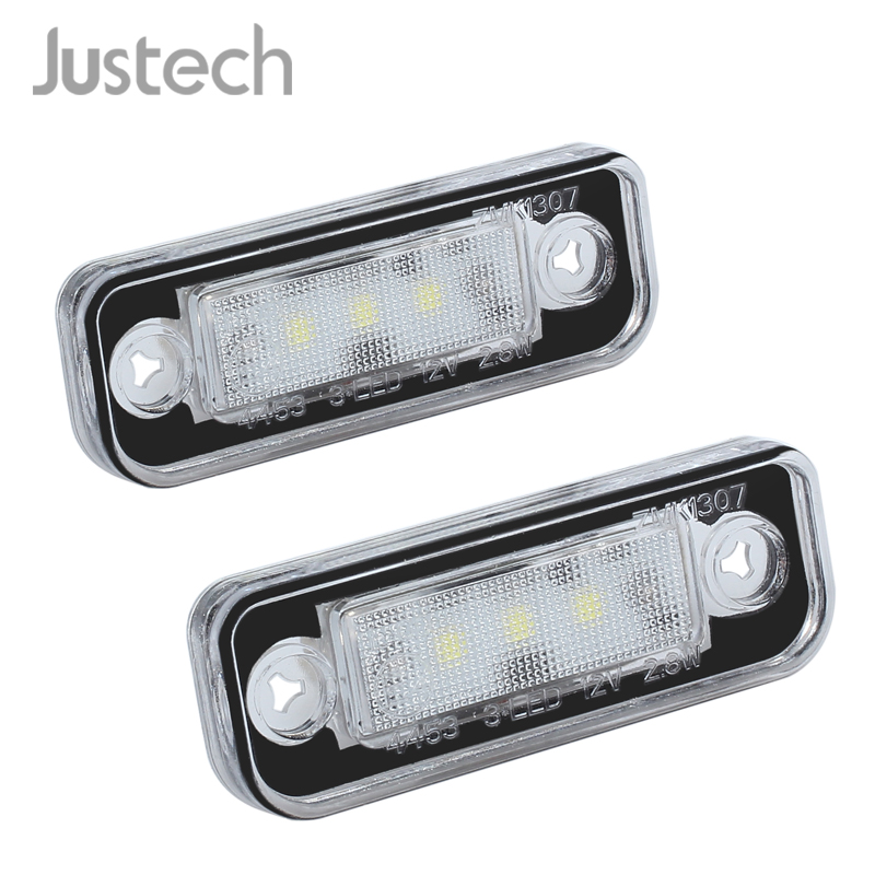 Justech 2 Pcs 3 SMD LED License Plate Lights For <font><b>Mercedes</b></font> <font><b>Benz</b></font> Vehicle <font><b>SLK</b></font> CLS C E Class White 7000K License Plate Light image