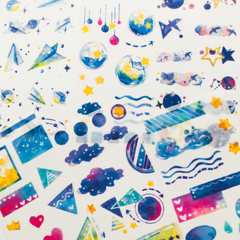 6 Sheets/Pack Blue Style Star Oceans Paper Stickers Decorative Album Diary Hand Account Decor - discount item  15% OFF Stationery Sticker