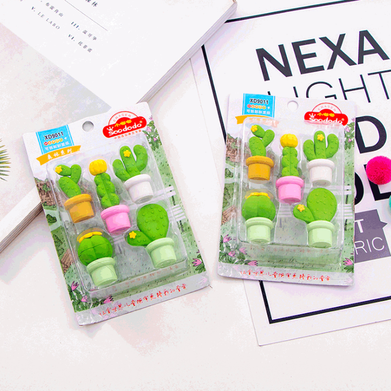 12packs/lot New Arrival Cute And Creative Cactus Series Kawaii School Supplies Erasers For School Children Gift Stationery