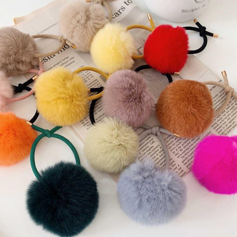 Карамельный цвет, помпон, веревка для волос, Осень-зима, однотонный плюшевый шарик, эластичные резинки для волос, для женщин, девушек, конский хвост, кольцо, аксессуары для волос