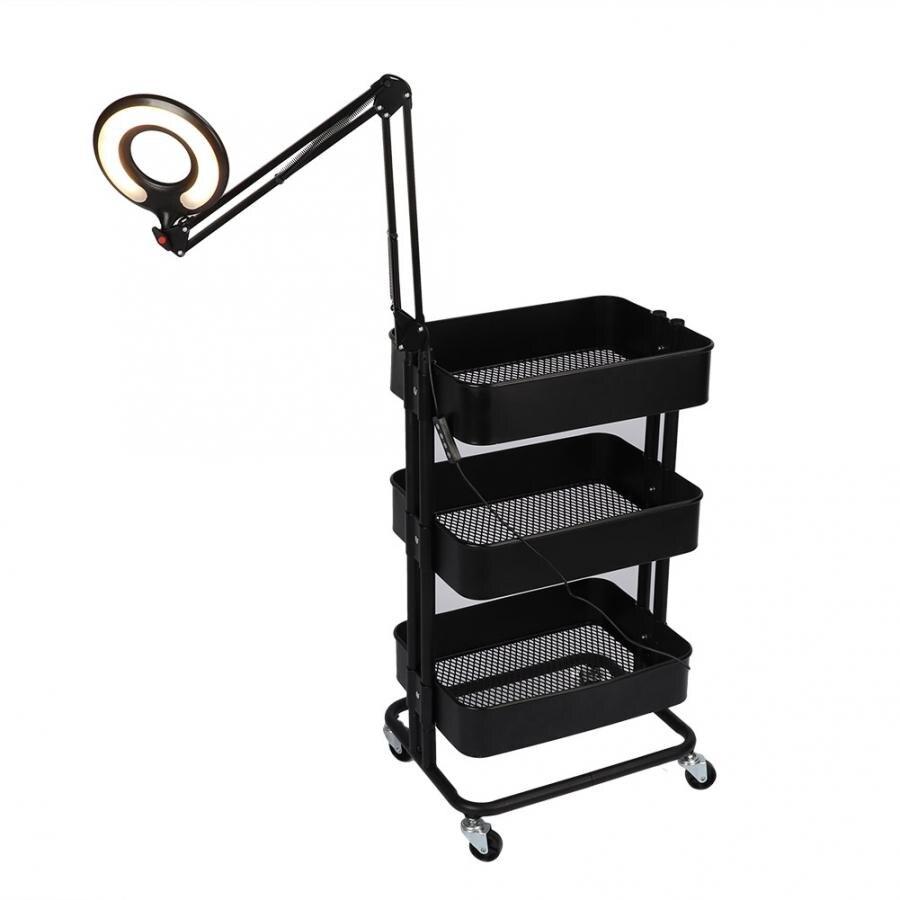Multi-functional 3 Tier Rolling Wheels Trolley Cart Hair Beauty Salon Storage Rack With Light Barbershop Accessories
