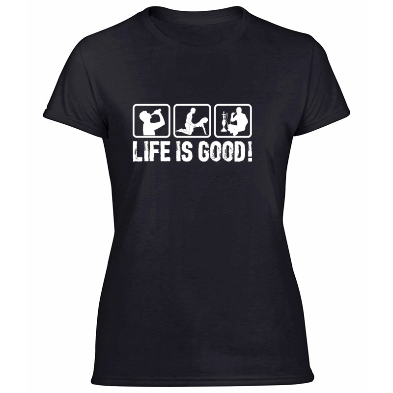 Printed Life Is So Good! T-Shirt Women Hipster Comical Women's Tshirts Round Neck Solid Color 2019 Camisetas Hiphop Top