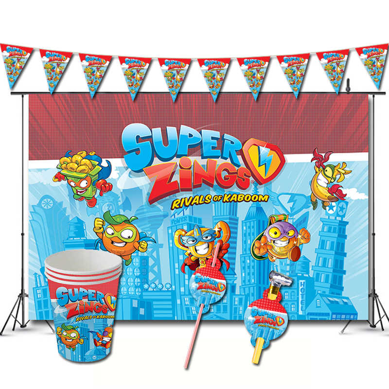 Super Zings Birthday Party Decorations Game Superzings Theme Favors Supplys Banner Cups Things Straws Superthings Party Diy Decorations Aliexpress