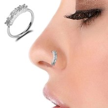 Round Alloy Bendable Rhinestone Ring Bendable Seamless Nose Ring Surgical Steel Crystal Ear Trague Cartilage Earring Piercing(China)