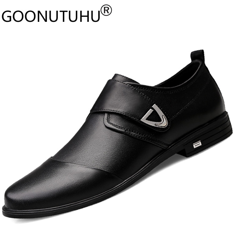 2020 new spring men's dress shoes genuine leather cow hook loop slip on classic black shoe man wedding work office shoes for men